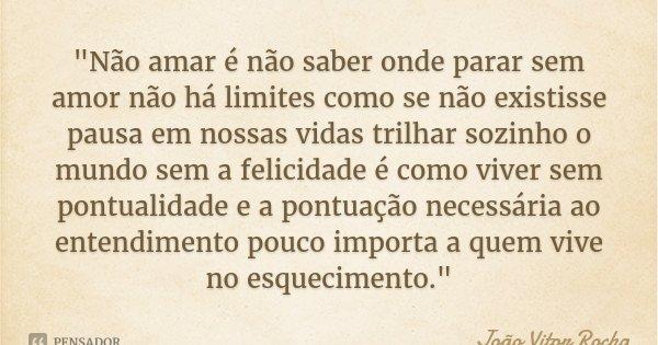 """""""Não amar é não saber onde parar sem amor não há limites como se não existisse pausa em nossas vidas trilhar sozinho o mundo sem a felicidade é como viver ... Frase de João Vitor Rocha."""