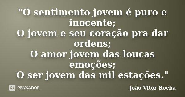 """""""O sentimento jovem é puro e inocente; O jovem e seu coração pra dar ordens; O amor jovem das loucas emoções; O ser jovem das mil estações.""""... Frase de João Vitor Rocha."""