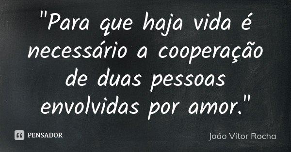 """""""Para que haja vida é necessário a cooperação de duas pessoas envolvidas por amor.""""... Frase de João Vitor Rocha."""