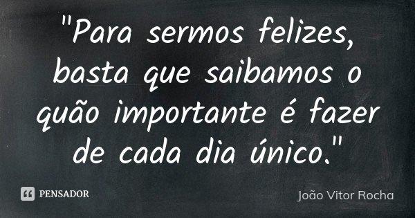 """""""Para sermos felizes, basta que saibamos o quão importante é fazer de cada dia único.""""... Frase de João Vitor Rocha."""