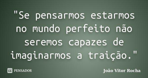 """""""Se pensarmos estarmos no mundo perfeito não seremos capazes de imaginarmos a traição.""""... Frase de João Vitor Rocha."""