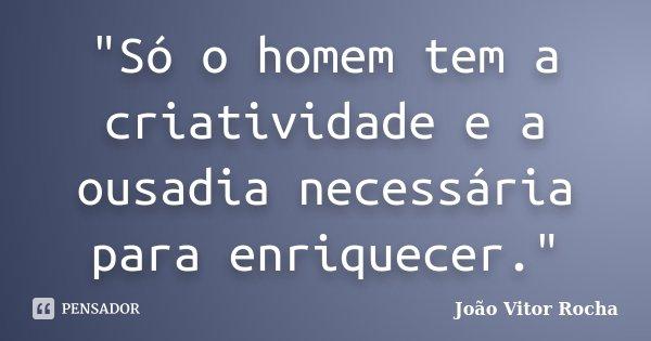 """""""Só o homem tem a criatividade e a ousadia necessária para enriquecer.""""... Frase de João Vitor Rocha."""