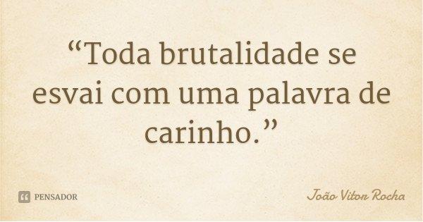 """""""Toda brutalidade se esvai com uma palavra de carinho.""""... Frase de João Vitor Rocha."""