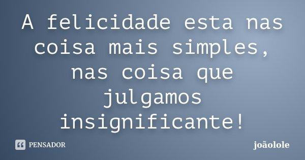 A felicidade esta nas coisa mais simples, nas coisa que julgamos insignificante!... Frase de Joaolole.