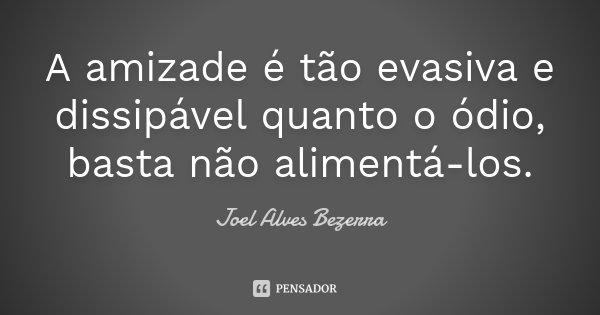 A amizade é tão evasiva e dissipável quanto o ódio, basta não alimentá-los.... Frase de Joel Alves Bezerra.