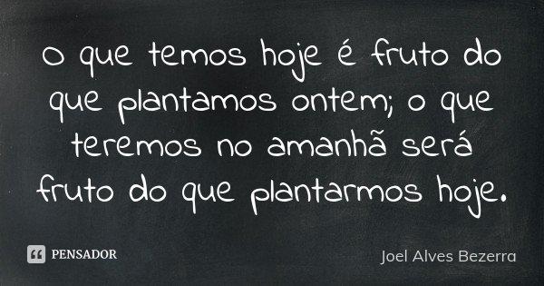 O que temos hoje é fruto do que plantamos ontem; o que teremos no amanhã será fruto do que plantarmos hoje.... Frase de Joel Alves Bezerra.