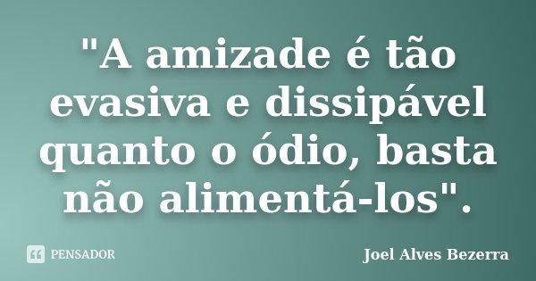 """""""A amizade é tão evasiva e dissipável quanto o ódio, basta não alimentá-los"""".... Frase de Joel Alves Bezerra."""