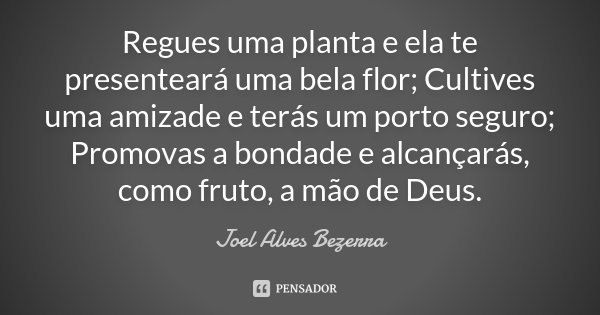 Regues uma planta e ela te presenteará uma bela flor; Cultives uma amizade e terás um porto seguro; Promovas a bondade e alcançarás, como fruto, a mão de Deus.... Frase de Joel Alves Bezerra.