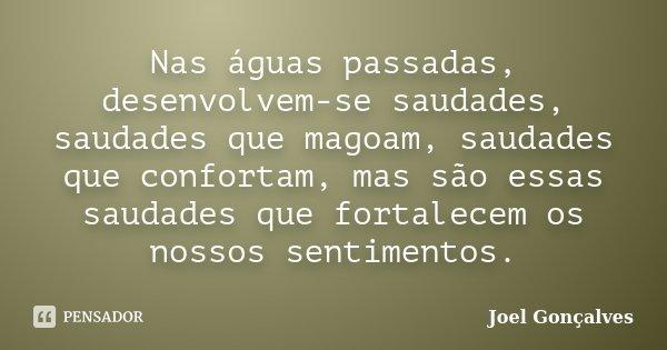 Nas águas passadas, desenvolvem-se saudades, saudades que magoam, saudades que confortam, mas são essas saudades que fortalecem os nossos sentimentos.... Frase de Joel Gonçalves.