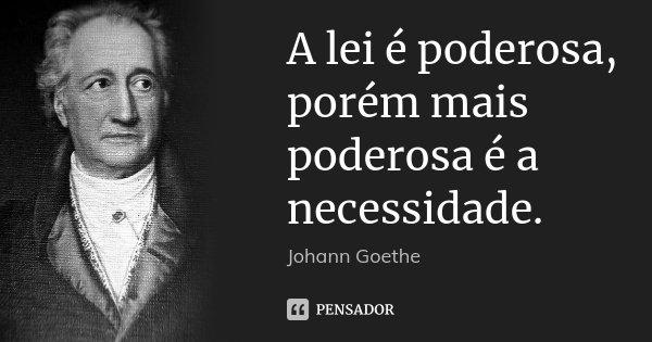 A lei é poderosa, porém mais poderosa é a necessidade.... Frase de Johann Goethe.
