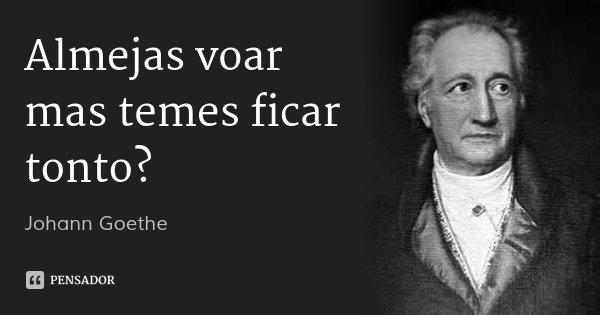 Almejas voar mas temes ficar tonto?... Frase de Johann Goethe.