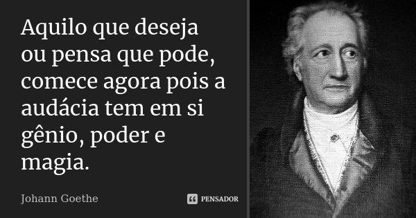 Aquilo que deseja ou pensa que pode, comece agora pois a audácia tem em si gênio, poder e magia.... Frase de Johann Goethe.