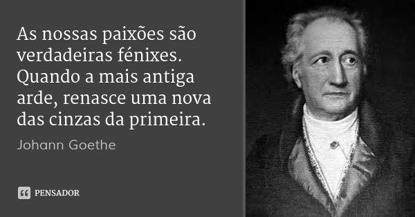 As nossas paixões são verdadeiras fénixes. Quando a mais antiga arde, renasce uma nova das cinzas da primeira.... Frase de Johann Goethe.