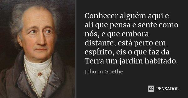 Conhecer alguém aqui e ali que pensa e sente como nós, e que embora distante, está perto em espírito, eis o que faz da Terra um jardim habitado.... Frase de Johann Goethe.