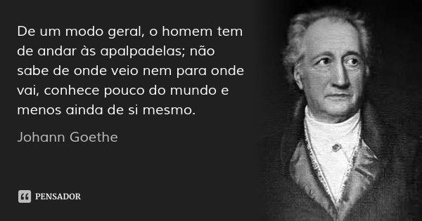 De um modo geral, o homem tem de andar às apalpadelas; não sabe de onde veio nem para onde vai, conhece pouco do mundo e menos ainda de si mesmo.... Frase de Johann Goethe.