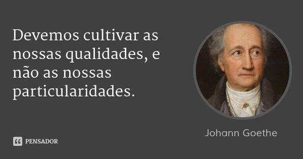 Devemos cultivar as nossas qualidades, e não as nossas particularidades.... Frase de Johann Goethe.