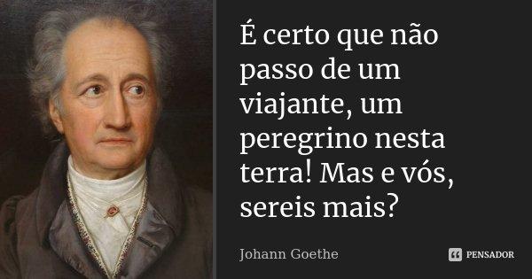 É certo que não passo de um viajante, um peregrino nesta terra! Mas e vós, sereis mais?... Frase de Johann Goethe.