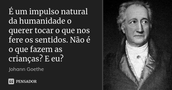 É um impulso natural da humanidade o querer tocar o que nos fere os sentidos. Não é o que fazem as crianças? E eu?... Frase de Johann Goethe.