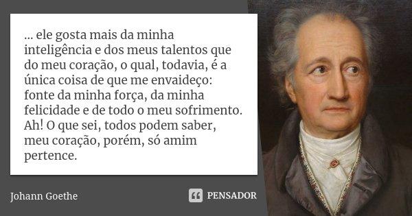 ... ele gosta mais da minha inteligência e dos meus talentos que do meu coração, o qual, todavia, é a única coisa de que me envaideço: fonte da minha força, da ... Frase de Johann Goethe.