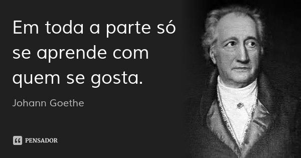 Em toda a parte só se aprende com quem se gosta.... Frase de Johann Goethe.