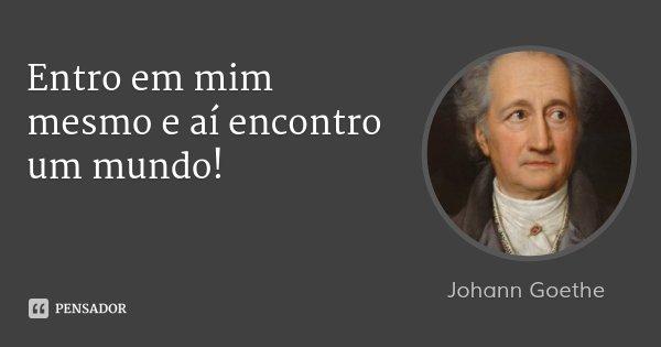 Entro em mim mesmo e aí encontro um mundo!... Frase de Johann Goethe.
