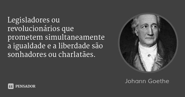 Legisladores ou revolucionários que prometem simultaneamente a igualdade e a liberdade são sonhadores ou charlatães.... Frase de Johann Goethe.