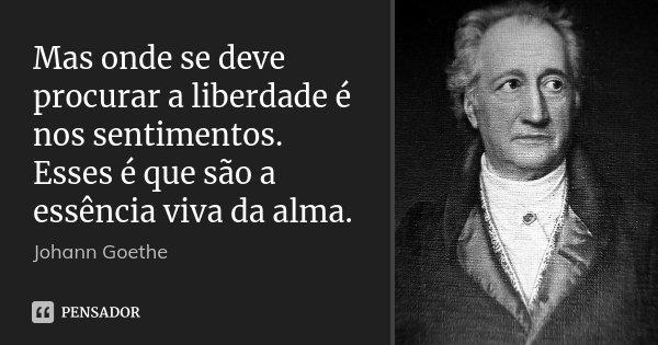 Mas onde se deve procurar a liberdade é nos sentimentos. Esses é que são a essência viva da alma.... Frase de Johann Goethe.