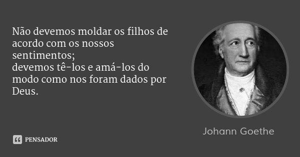 Não devemos moldar os filhos de acordo com os nossos sentimentos; / devemos tê-los e amá-los do modo como nos foram dados por Deus.... Frase de Johann Goethe.