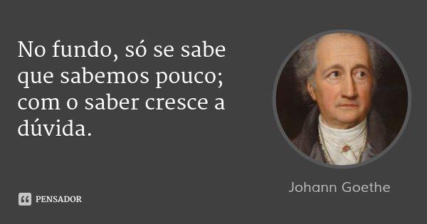 No fundo, só se sabe que sabemos pouco; com o saber cresce a dúvida.... Frase de Johann Goethe.