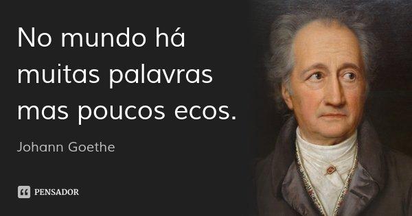 No mundo há muitas palavras mas poucos ecos.... Frase de Johann Goethe.