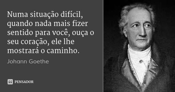 Numa situação difícil, quando nada mais fizer sentido para você, ouça o seu coração, ele lhe mostrará o caminho.... Frase de Johann Goethe.