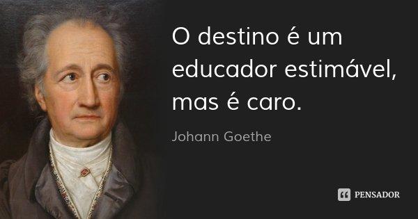 O destino é um educador estimável, mas é caro.... Frase de Johann Goethe.