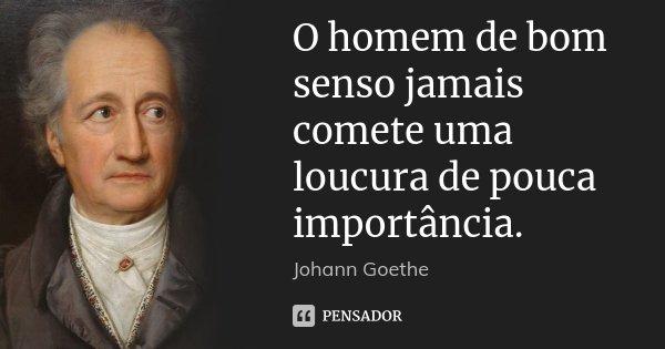 O homem de bom senso jamais comete uma loucura de pouca importância.... Frase de Johann Goethe.