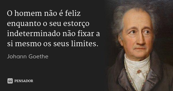 O homem não é feliz enquanto o seu estorço indeterminado não fixar a si mesmo os seus limites.... Frase de Johann Goethe.