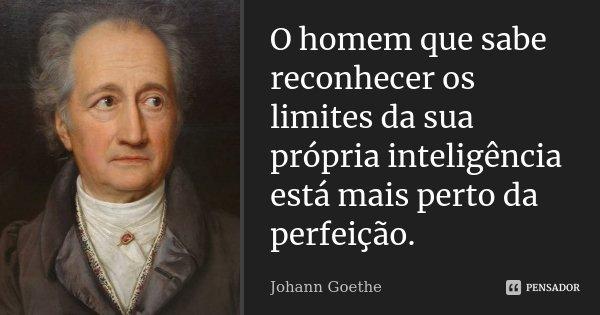 O homem que sabe reconhecer os limites da sua própria inteligência está mais perto da perfeição.... Frase de Johann Goethe.