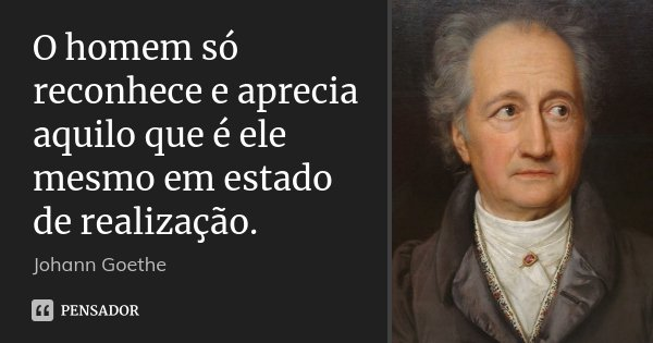 O homem só reconhece e aprecia aquilo que é ele mesmo em estado de realização.... Frase de Johann Goethe.