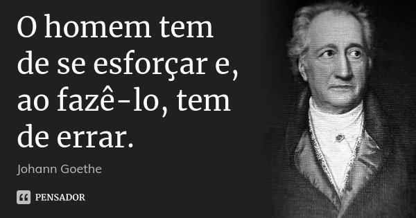 O homem tem de se esforçar e, ao fazê-lo, tem de errar.... Frase de Johann Goethe.