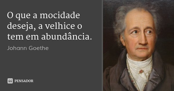 O que a mocidade deseja, a velhice o tem em abundância.... Frase de Johann Goethe.