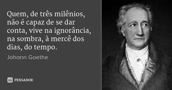 Quem, de três milênios, não é capaz de se dar conta, vive na ignorância, na sombra, à mercê dos dias, do tempo.... Frase de Johann Goethe.