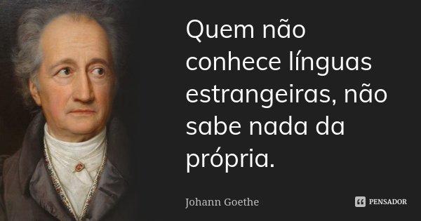 Quem não conhece línguas estrangeiras, não sabe nada da própria.... Frase de Johann Goethe.