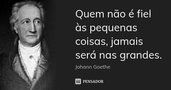 Quem não é fiel às pequenas coisas, jamais será nas grandes.... Frase de Johann Goethe.