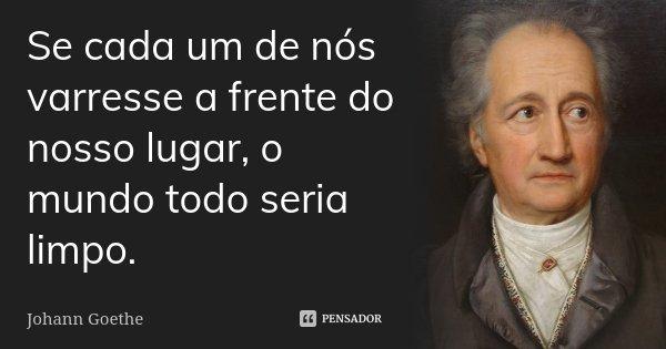 Se cada um de nós varresse a frente do nosso lugar, o mundo todo seria limpo.... Frase de Johann Goethe.