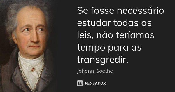 Se fosse necessário estudar todas as leis, não teríamos tempo para as transgredir.... Frase de Johann Goethe.
