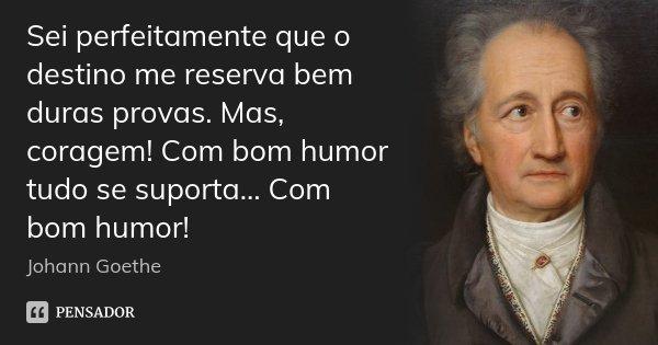 Sei perfeitamente que o destino me reserva bem duras provas. Mas, coragem! Com bom humor tudo se suporta... Com bom humor!... Frase de Johann Goethe.