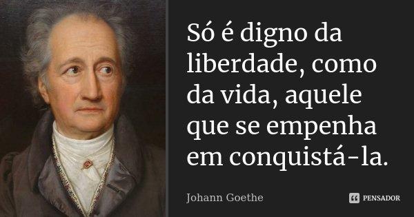 Só é digno da liberdade, como da vida, aquele que se empenha em conquistá-la.... Frase de Johann Goethe.