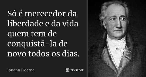 Só é merecedor da liberdade e da vida quem tem de conquistá-la de novo todos os dias.... Frase de Johann Goethe.