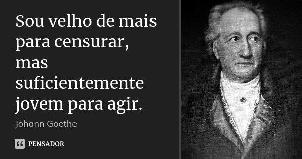 Sou velho de mais para censurar, mas suficientemente jovem para agir.... Frase de Johann Goethe.