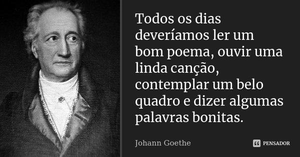 Todos os dias deveríamos ler um bom poema, ouvir uma linda canção, contemplar um belo quadro e dizer algumas palavras bonitas.... Frase de Johann Goethe.