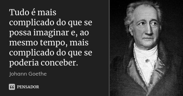 Tudo é mais complicado do que se possa imaginar e, ao mesmo tempo, mais complicado do que se poderia conceber.... Frase de Johann Goethe.