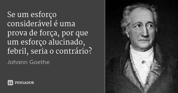 Se um esforço considerável é uma prova de força, por que um esforço alucinado, febril, seria o contrário?... Frase de Johann Goethe.